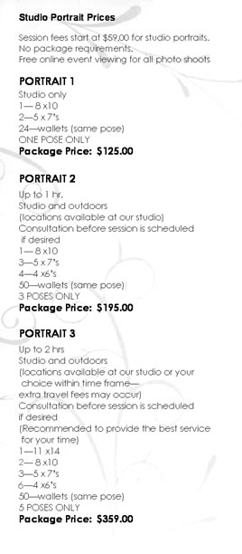 Portrait Photography Pricing
